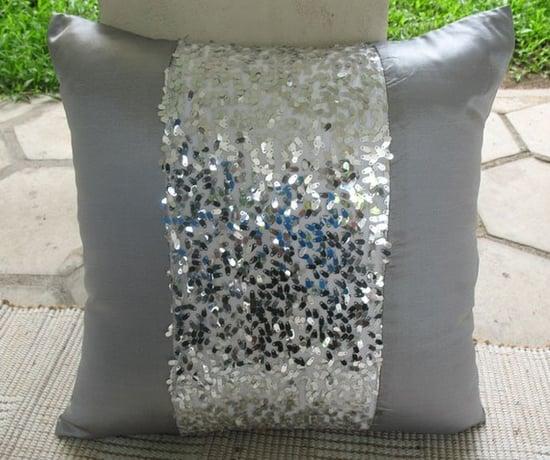 Gray Silk Taffeta Cushion Cover With Sequin Embellishment ($23)