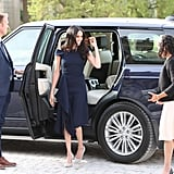 Meghan, Meanwhile, Opted For Gray Manolo Blahnik Pumps With Her Dress