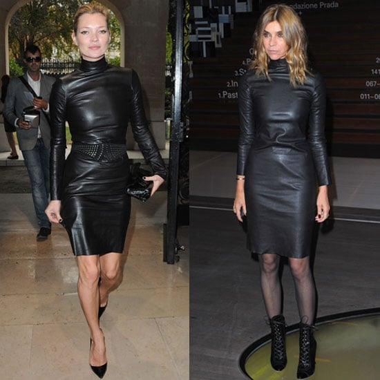 Photo of Kate Moss and Carine Roitfeld Wearing Same Black Leather Dress