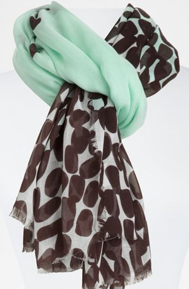 """Mint plus polka dots? We couldn't say """"no."""" Diane von Furstenberg Cambell Scarf ($165)"""