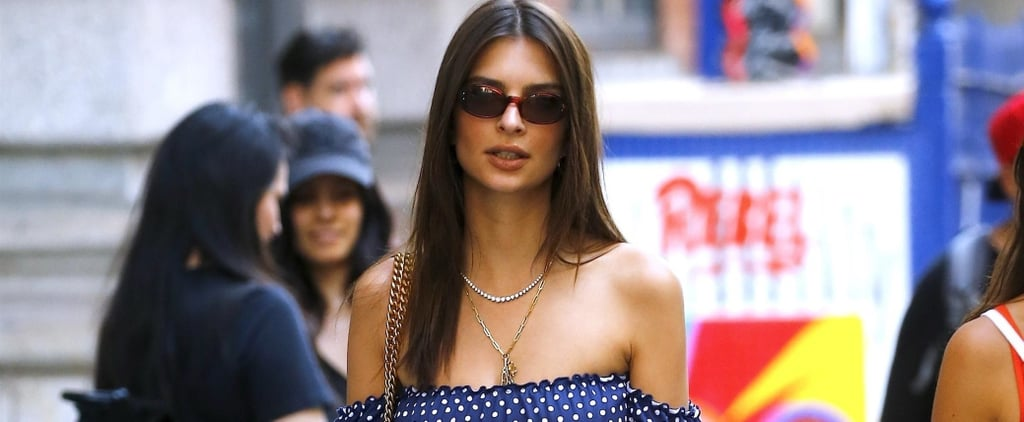 Emily Ratajkowski Blue Crop Top and Denim Skirt