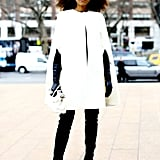 Winter white looked impeccably chic against sleek black bottoms.