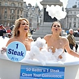 Playboy models Victoria Eisermann and Monica Harris take a bath sans clothes in London on World Water Day 2011. Their message: one steak uses as much water as 50 baths.