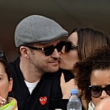 Jessica Biel gave Justin Timberlake a peck at the US Open in NYC in September.