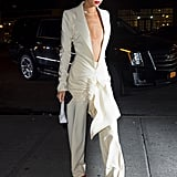 Kendall Jenner White Suit With Orange Mules