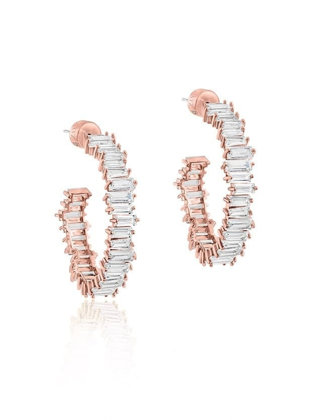 Zaxie Baguette Hoop Earrings