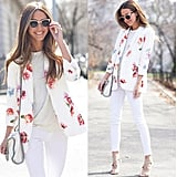 White Pants and Top With a Floral Blazer