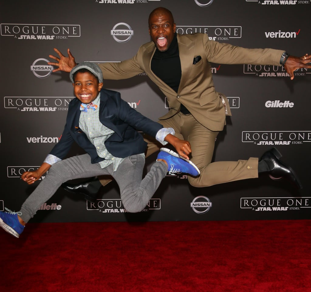 The premiere of Rogue One: A Star Wars Story took over LA on Saturday and brought out a handful of celebrity families. In addition to the Backstreet Boys' Kevin Richardson hitting the red carpet with his son, Terry Crews showed up with his 9-year-old son, Isaiah. Not only did they look super stylish, but they appeared to have the best time as they jumped in the air while posing for pictures. Check out the trailer for the film before it hits theaters on Dec. 16.      Related:                                                                                                           15 Hollywood Tough Guys Who Turn Into Mush Around Their Kids