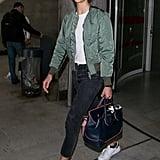 Karlie Kloss Carrying a Versace Palazzo Empire Bag
