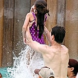Tom Cruise and Suri Cruise played at the water park.