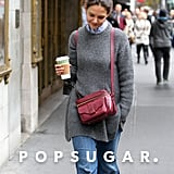 Katie Holmes carried an oxblood bag.