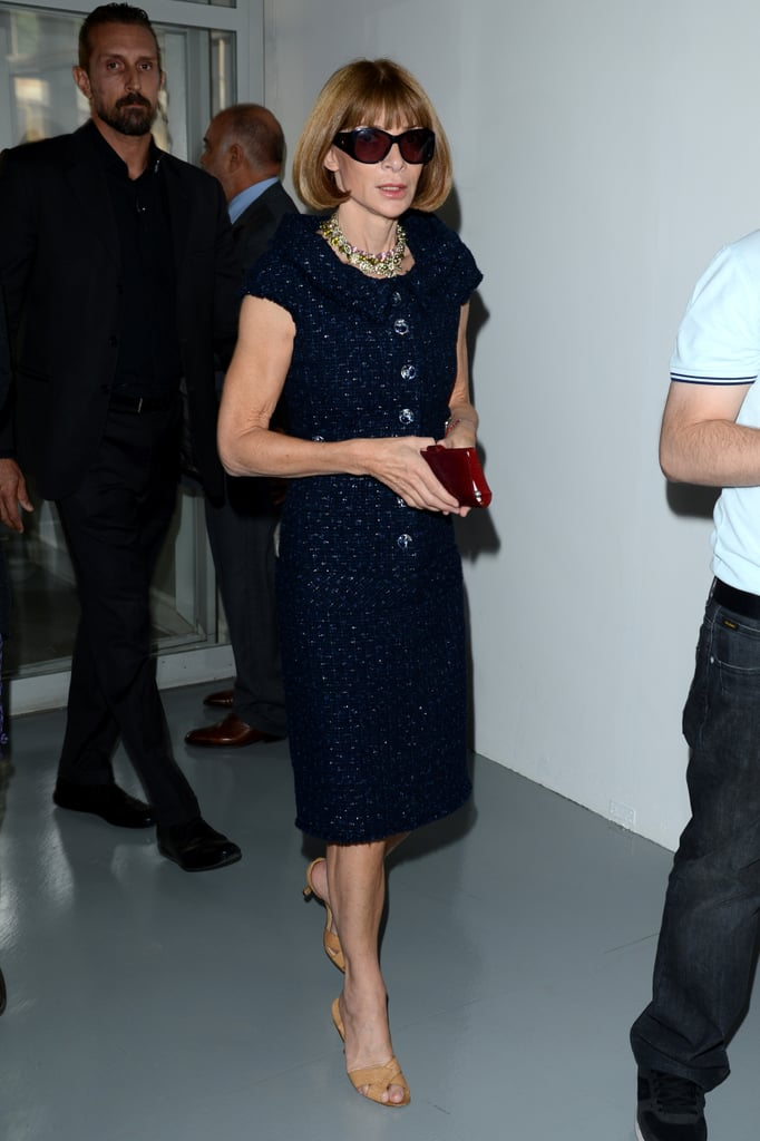 Anna Wintour donned a chic black sheath on her way into Fendi.