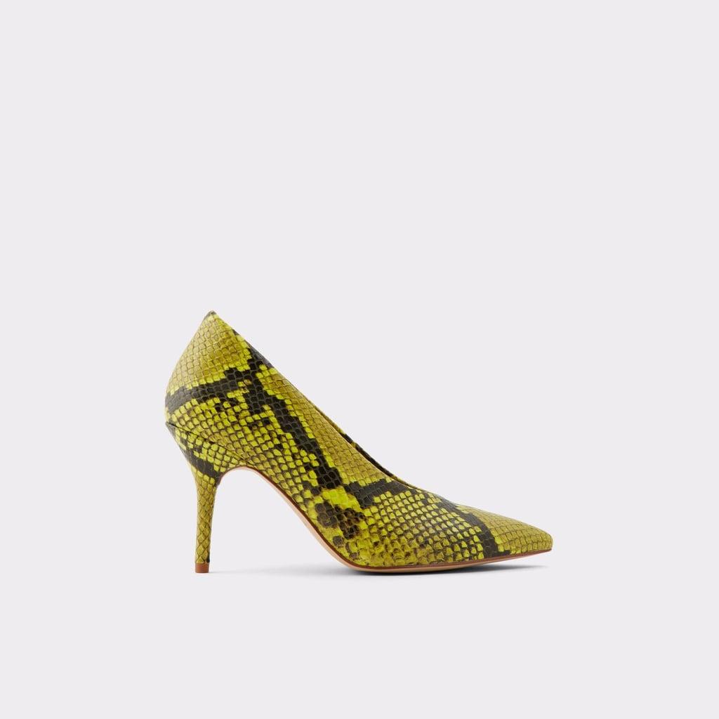 ac01a4c6c3a Priyanka Chopra Yellow Snakeskin Pumps From Aldo   POPSUGAR Fashion
