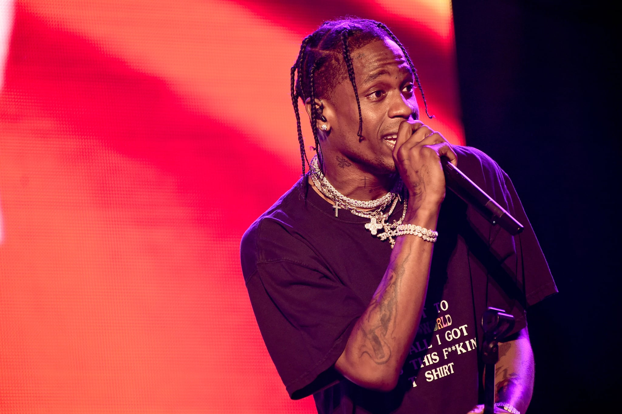 NEW YORK, NY - JUNE 02:  Travis Scott performs on stage on Day 2 of the 2018 Governors Ball Music Festival on June 2, 2018 in New York City.  (Photo by Steven Ferdman/Getty Images)