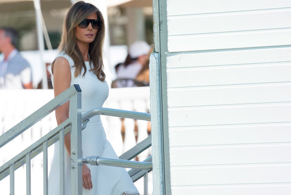 Melania Trump White Laser Cut Dress