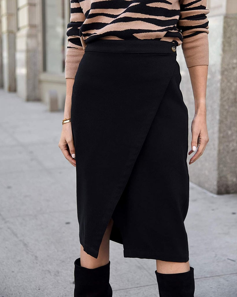 The Drop Women's Black Diagonal Overlap Button-Waist Midi Skirt by @lisadnyc