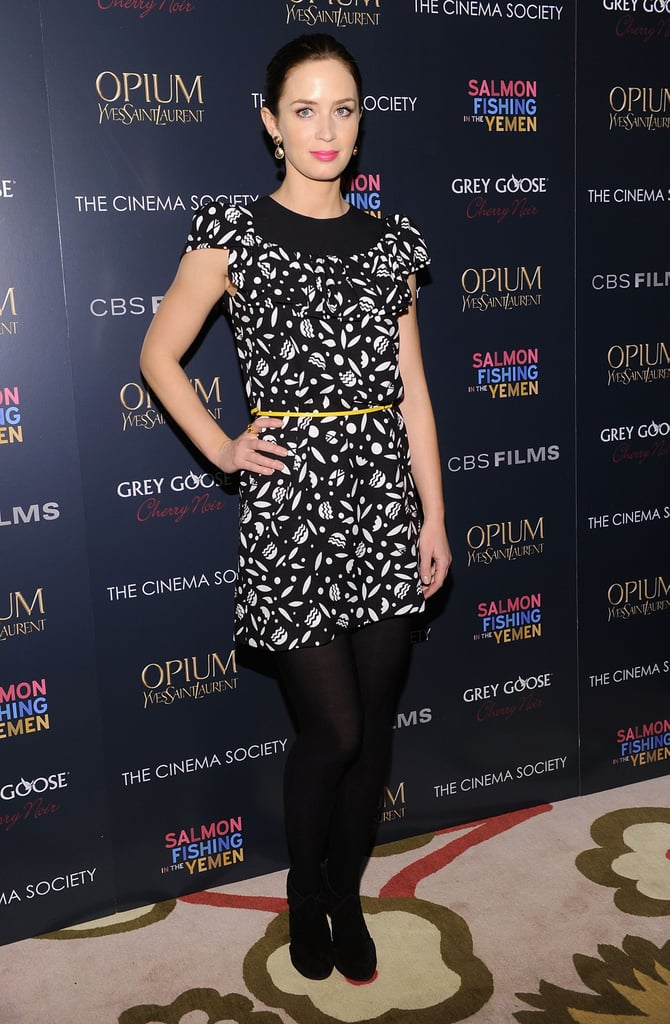 Emily Blunt wore a black and white dress.