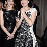 Marion Cotillard and Celine Sallette were in black and white.