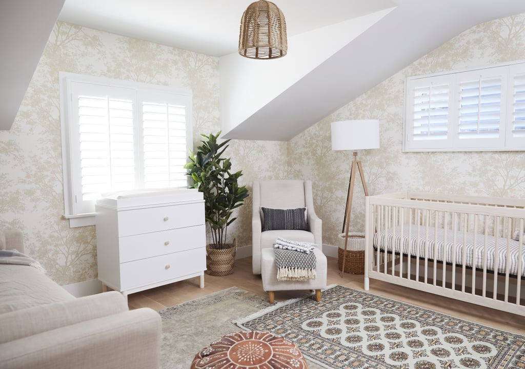 """There were five things that were huge priorities to me,"" Whitney said. ""A crib, a dresser that acted as a changing table, a soft rug, a glider, and a day bed."" For other non-priority accents, like the adorable $100 lighting pendant or $88 floor lamp, she went the affordable route."