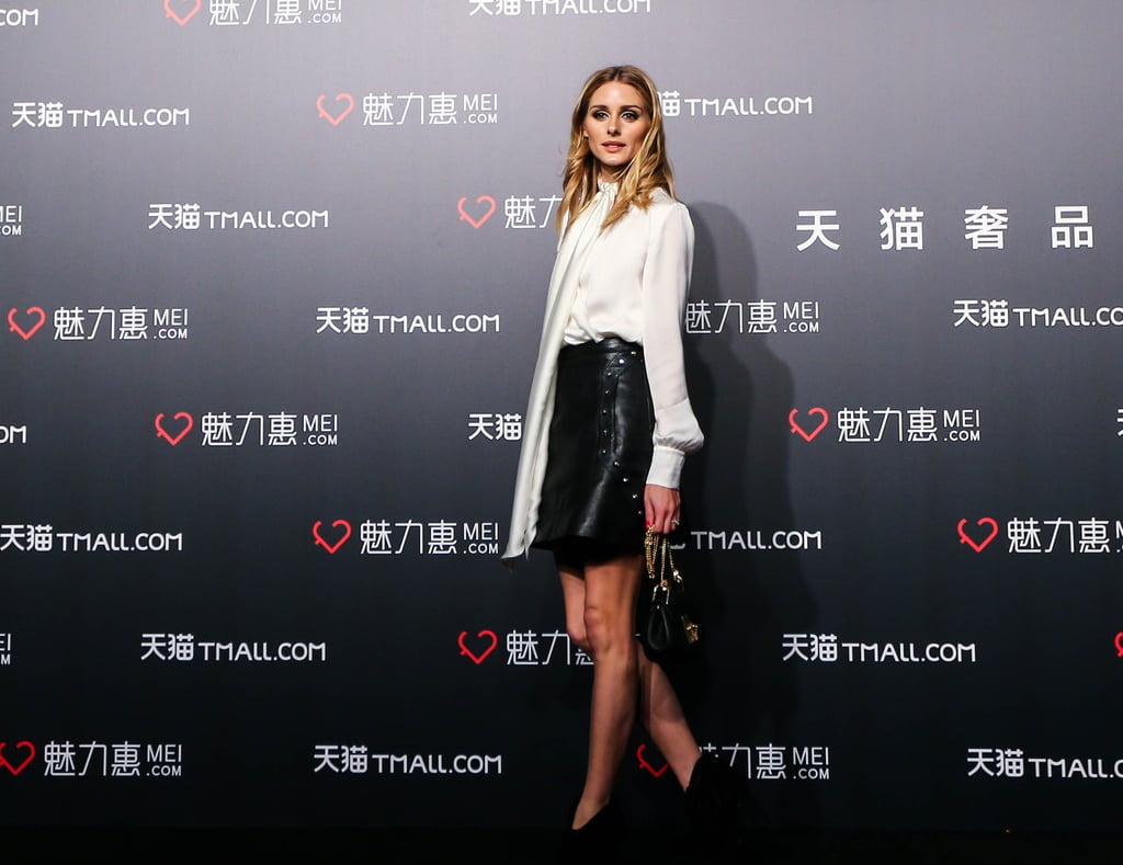 Olivia Palermo Wearing a Leather Skirt in Shanghai