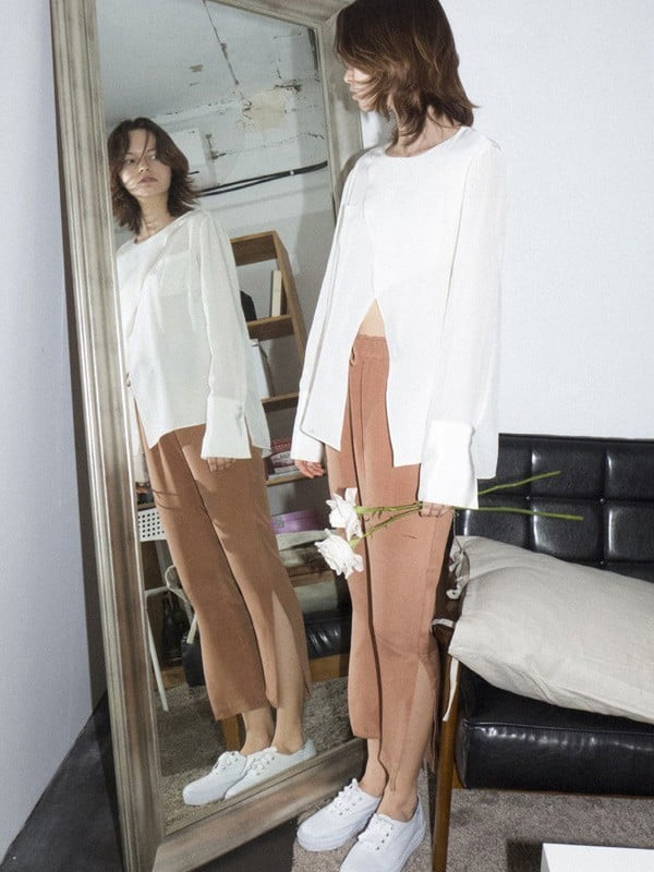 W Concept Silk Slit Pants ($249)