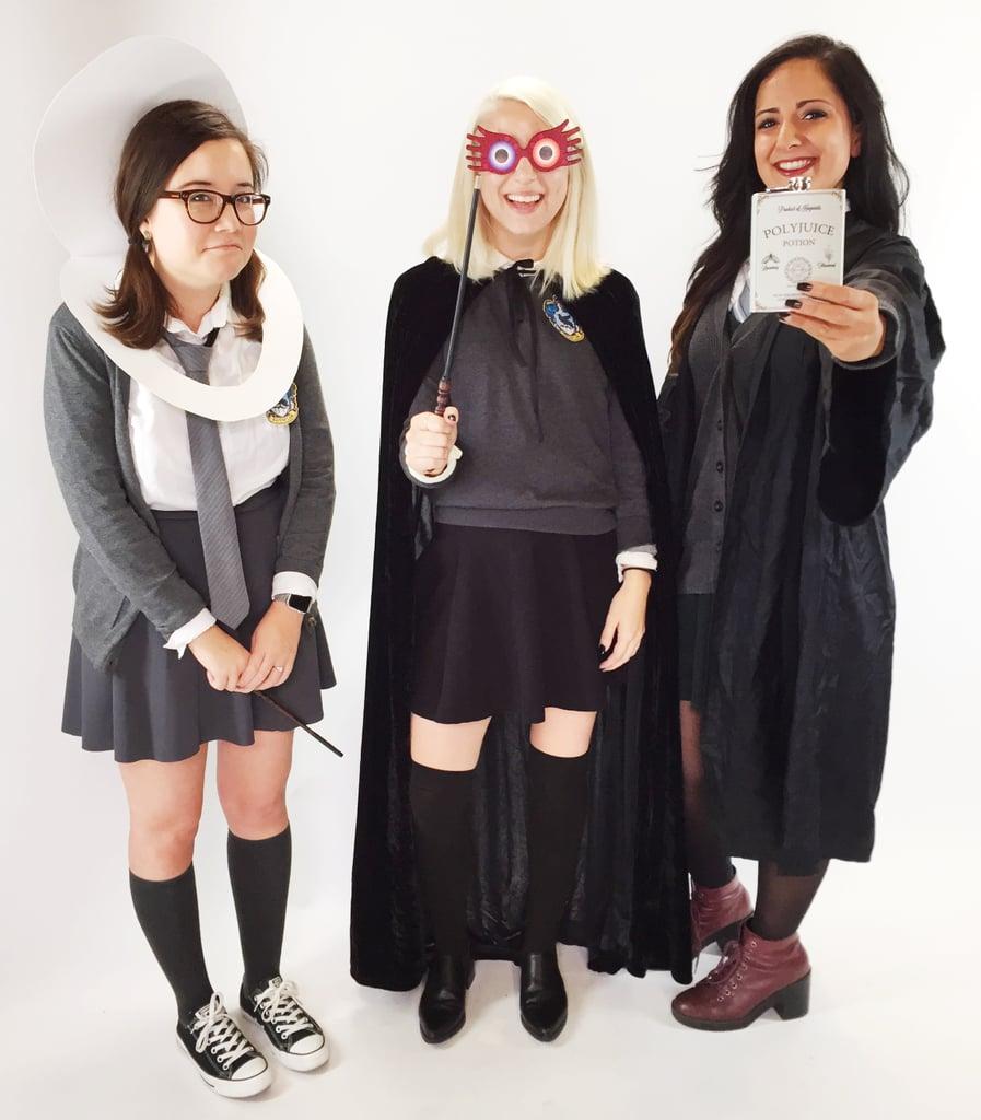 Costume Halloween Hermione.Moaning Myrtle Luna Lovegood And Hermione As Bellatrix Lestrange