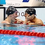This photo says it all! Teammates Missy Franklin and Elizabeth Beisel celebrated after their 1-2 win in the 200m backstroke.