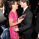 She got a congratulatory hug from Ian Somerhalder at the People's Choice Awards in LA in January 2013.