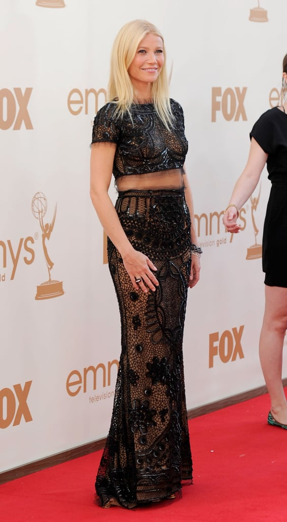 Gwyneth Paltrow in black lace at the Emmys.