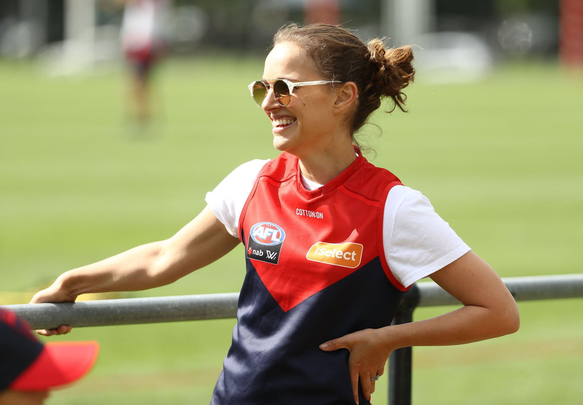 MELBOURNE, AUSTRALIA - NOVEMBER 28: Actress Natalie Portman is seen during a Melbourne Demons AFL training session at Gosch's Paddock on November 28, 2018 in Melbourne, Australia. (Photo by Robert Cianflone/Getty Images)