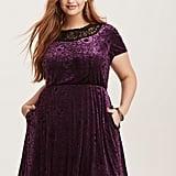Black & Purple Velvet Illusion Skater Dress