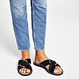 River Island Black Wide Fit Cross Studded Mule Sandals