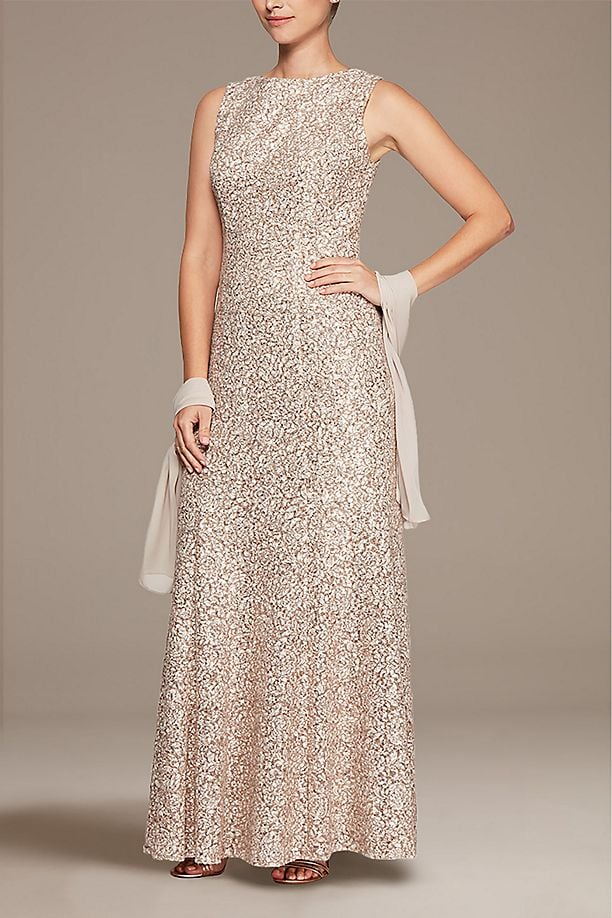 Alex Evenings High Neck Sequin Fit and Flare Dress With Shawl