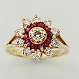 Etsy Ruby and Diamond Flower Ring 14k Yellow Gold