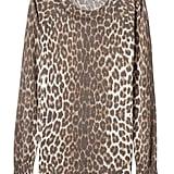 Leopard-Print Ruffle-Cuff Crew