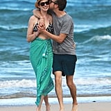 Anne Hathaway and Adam Shulman showed PDA in Hawaii in January 2014.