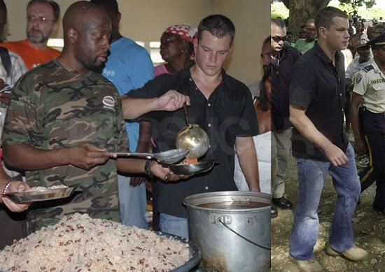 Photos of Matt Damon and Wyclef Jean in Haiti
