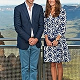 Diane Von Furstenberg in the Blue Mountains: It doesn't get much better than a fresh DVF wrap dress, and Kate teamed this 'Patrice' style with navy Stuart Weitzman wedges and matching clutch.