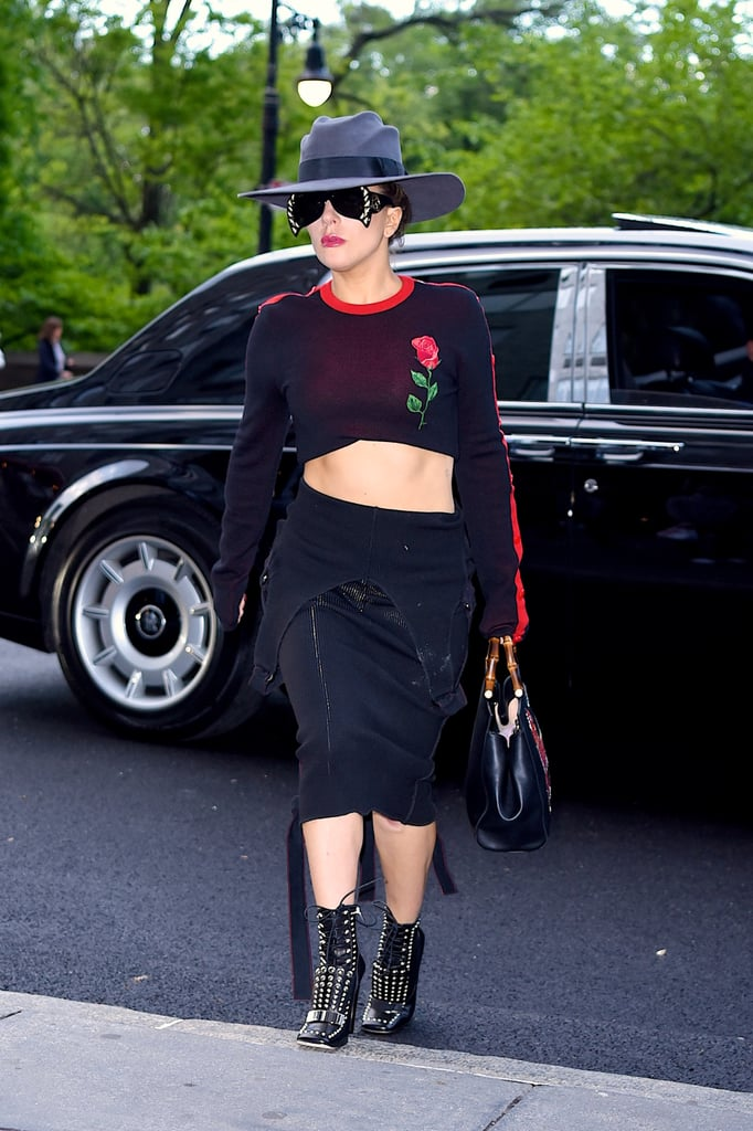 Wearing a Marcelo Burlon crop top and a Wesley Harriott black pinafore (as a skirt).