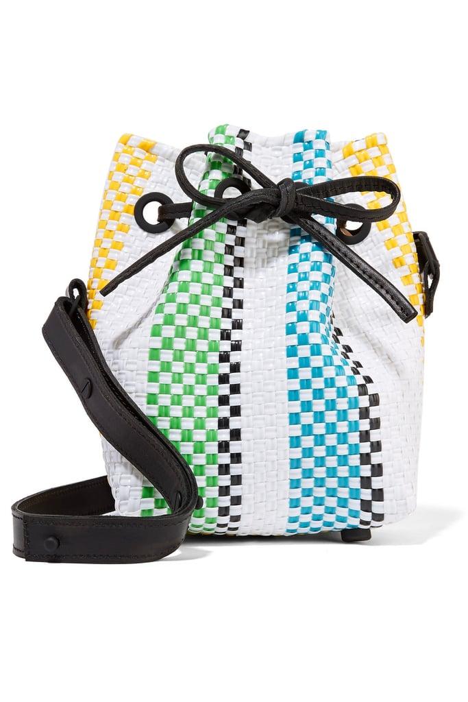 Truss Stripe Mini Woven Raffia-Effect Bucket Bag