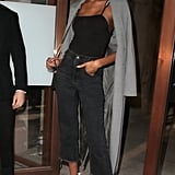 Jourdan Dunn Wore a Gray Trench Coat With a Tank Top Tucked Into Cropped Jeans