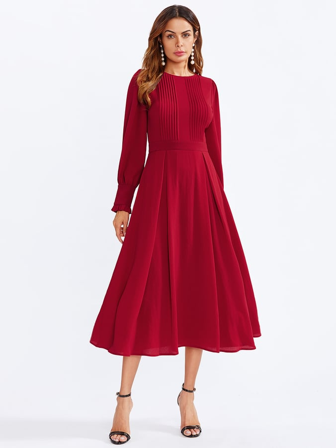 b64f3c017c Shein Frilled Bishop Sleeve Pleated Fit & Flare Dress | Best Red ...