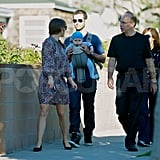 Natalie Portman and Benjamin Millepied walked in LA with son Aleph Millepied.