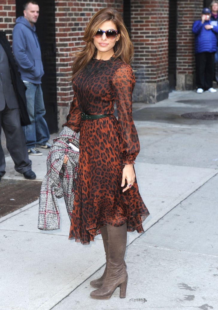 Eva Mendes wore a sheer leopard dress for her Late Night With David Letterman appearance in NYC.