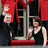 With her father Prince Andrew, Princess Eugenie made her way into a party before Prince William and Kate Middleton's wedding in April 2011.