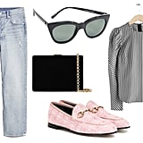 Gucci Jordaan Tweed Loafers ($730) & Other Stories Jacquard Puff Sleeve Top ($89) Gap High Rise Distressed Cheeky Straight Jeans ($80) Le Specs Halfmoon Magic Sunglasses ($69) Anya Hindmarch Velvet Shoulder Bag ($425)