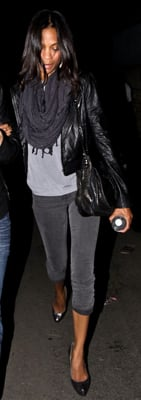 Zoe Saldana Wears Gray Jeans and Leather Jacket to Kings of Leon Concert