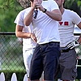 Liam Hemsworth watched his ball drop on the driving range.