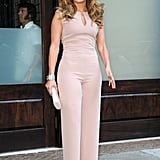 Jennifer Lopez posed outside of her NYC hotel.