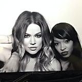 Khloé and Malika Haaq took a photobooth snap together. Source: Instagram user khloekardashian